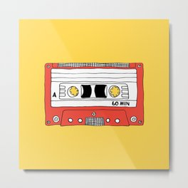 Cassette Tape // yellow and red // large Metal Print