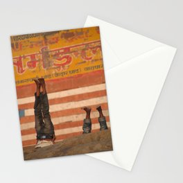 Doing Yoga on the Ghats Stationery Cards