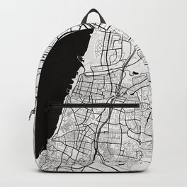 Tel Aviv City Map of Israel - Black Circle Backpack