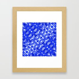 Blue and White Fluid Abstract 45 Framed Art Print