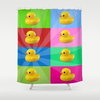 duck Shower Curtains featuring duck by mark ashkenazi