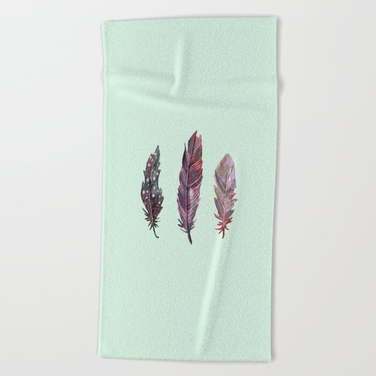 watercolor feathers (mint green) dos Beach Towel
