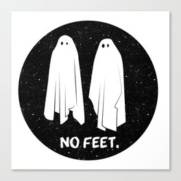 No Feet Ghosts Black and White Graphic Canvas Print