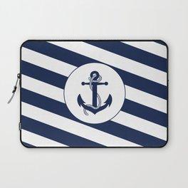 Nautical Anchor Navy Blue & White Stripes Beach Laptop Sleeve