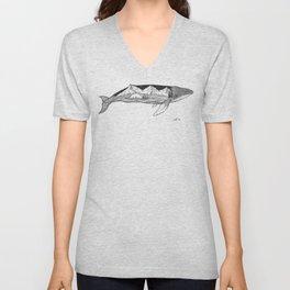 Humpback whale wave action Unisex V-Neck