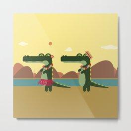 Crocodiles Hula Hula Metal Print