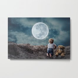 Reach For The Moon and Stars, Child Metal Print