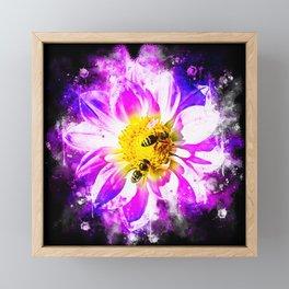 bees on flower splatter watercolor Framed Mini Art Print