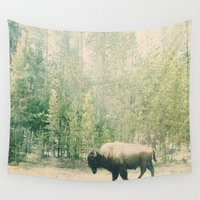 bison Wall Tapestries featuring bison I by stevee
