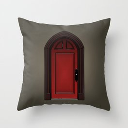 Red door in The Haunting of House Throw Pillow