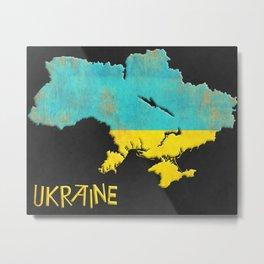 Ukraine Vintage Map Metal Print