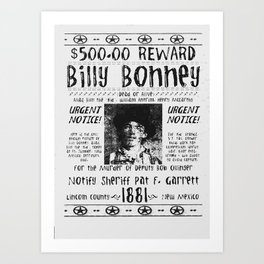 Billy Bonney | Wanted Poster Art Print
