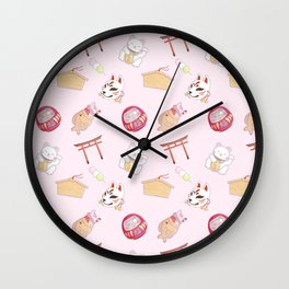 kawaii japanese culture shrine pattern pink Wall Clock
