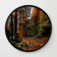 cabin Wall Clocks featuring Hidden Cabin by Robin Curtiss