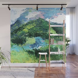 Gunnison: a vibrant acrylic mountain landscape in greens, blues, and a splash of pink Wall Mural