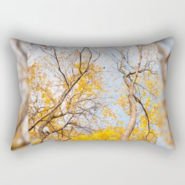 Yellow autumn leaves on trees in park Rectangular Pillow
