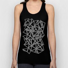 Abstract New White on Black Unisex Tank Top