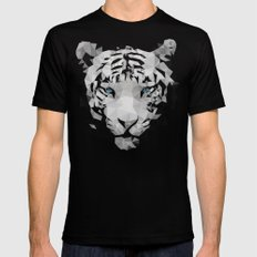 Meduzzle: White Tiger SMALL Black Mens Fitted Tee