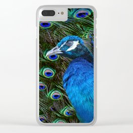 Blue Peacock and Feathers Clear iPhone Case
