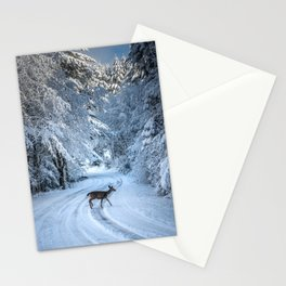Winter Wildlife III - Deer Fawn Forest Adventure Nature Photography Stationery Cards