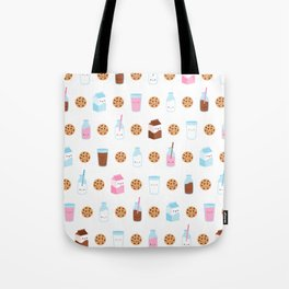 Milk and Cookies Pattern on White Tote Bag