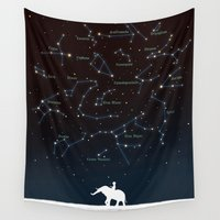 constellation Wall Tapestries featuring Falling star constellation by Picomodi