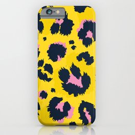 Yellow leopard with pink spots iPhone Case