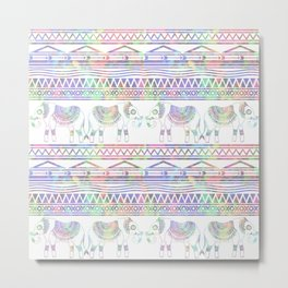 Pastel Elephant Tribal Pattern Metal Print