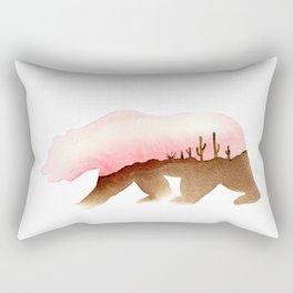Bear - Desert and Cactuses - California Flag Rectangular Pillow