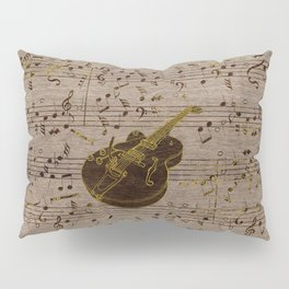 Golden pyrography  Acoustic Guitar on wood Pillow Sham