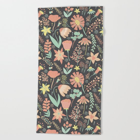 Peachy Keen Wildflowers Beach Towel