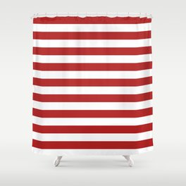 Narrow Horizontal Stripes - White and Firebrick Red Shower Curtain