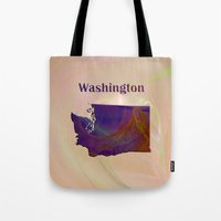 washington Tote Bags featuring Washington Map by Roger Wedegis