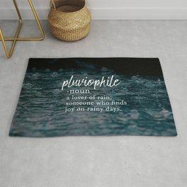 Pluviophile - Word Nerd Definition - Rainy Background Rug