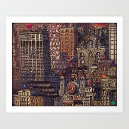 Wizard City, Lower Manhaddon, 1976 Art Print