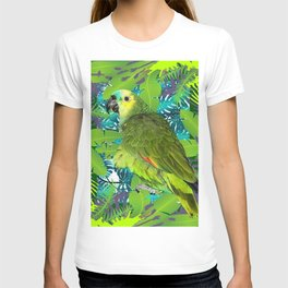 DECORATIVE GREEN PARROT JUNGLE GRAY-GREEN ART T-shirt