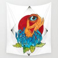 hamsa Wall Tapestries featuring Hamsa by missfortunetattoo
