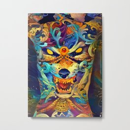 the girl with the wolf tattoo Metal Print