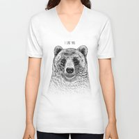 i like you V-neck T-shirts featuring I Like You (Bear) by Rachel Caldwell