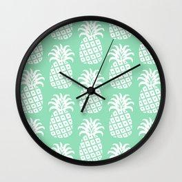 Retro Mid Century Modern Pineapple Pattern Mint Green 2 Wall Clock