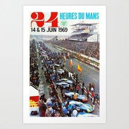 1969 Le Mans poster, Race poster, Car poster, vintage poster Art Print