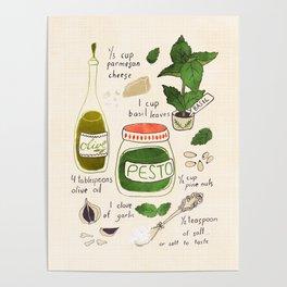 Pesto. Illustrated Recipe. Poster