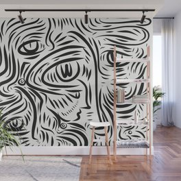 Black and White Street Art Graffiti Faces Vector Wall Mural