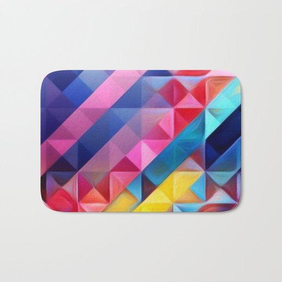 Geometric Abstract Rainbow Bath Mat