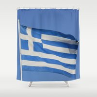 greece Shower Curtains featuring Greece Flag by WonderfulDreamPicture