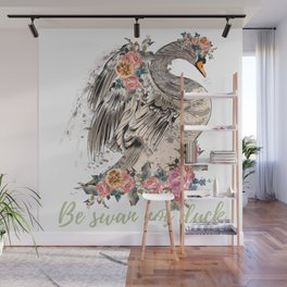 Be swan not a duck. Fashion trendy design with bird in rose flowers, conceptual art print Wall Mural