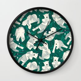 arctic polar bears green Wall Clock