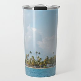 Palm trees and blue sky  - Tropical summer landscape Travel Mug