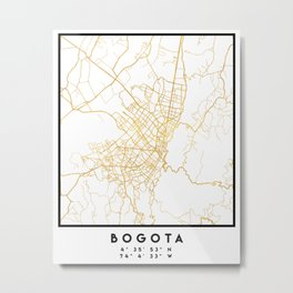 BOGOTA COLOMBIA CITY STREET MAP ART Metal Print