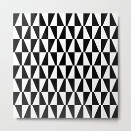 Mid Century Modern Geometric 312 Black and White Metal Print